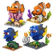 LOZ blok aksiyon figürü elmas yapı taşı bulma Nemo palyaço balığı Dory şekil Marlin Charlie Anime oyuncaklar yılbaşı hediyeleri 9726