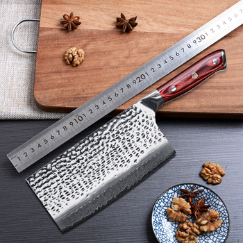 7 inch 67 layers Damascus Steel Meat Cleaver Knife Kitchen Knife Timhome Damascus Chopping Knife with Redwood Handle