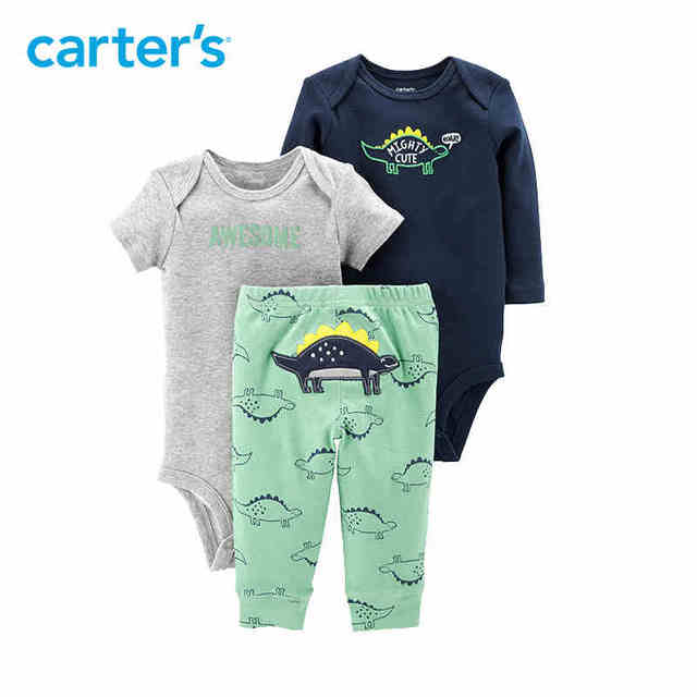 104e3db2766a Carter's 3-Piece Little Character Set Cute cartoon print long sleeve baby boy  bodysuits autumn winter baby clothes 126H496