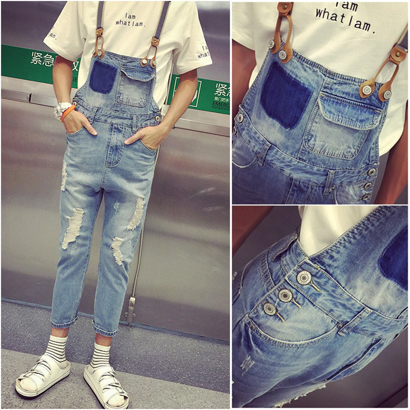 New Arrival Men's Spring Summer Bib Overalls Jeans Man Ripped Denim Jumpsuits Jeans Men Casual Distressed Jeans Pants 2016 new men s casual pocket blue denim overalls slim jumpsuits pants ripped jeans for man plus size 28 34