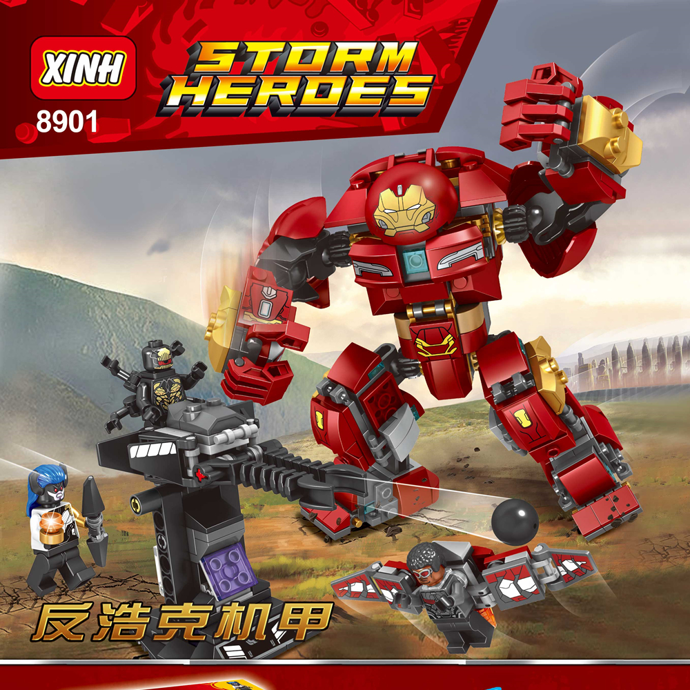 421pcs Marvel The Avengers Hulkbuster Smash Super Hero X8901 Infinity War Figure Set Building Blocks Sets Models Bricks Toys super hero marvel lady sif thor hela valkyrja figure bruce banner berserker mandarin red skull building blocks single sale toys
