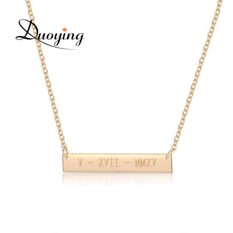 Duoying 35*6mm Gold Farbe Bar Benutzerdefinierte Gravierten Namen Halskette Für Frauen Personalisierte Erste Halskette Kette Halskette Etsy lieferant