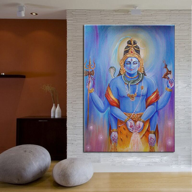 Pure Hand painted India Lord Shiva Oil Painting on Canvas Modern
