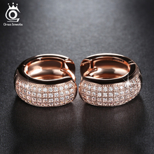 ORSA JEWELS Small Circle Earrings Full Set Luxury AAA Austrian Crystal Romantic Engagement&Wedding Gift for Women OE100(China)