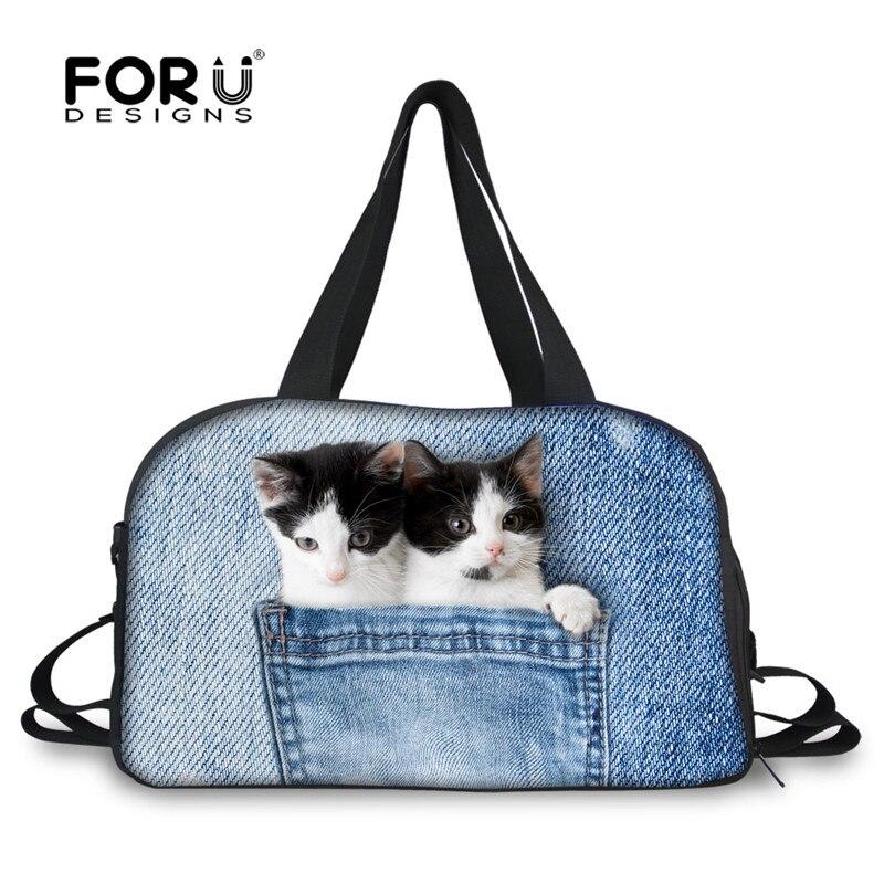 все цены на FORUDESIGNS 3D Denim Pocket Printing Women Carry on Duffle Bag Canvas Big Travel Bags Kawaii Dog Cat Weekend Portable Tote Bags