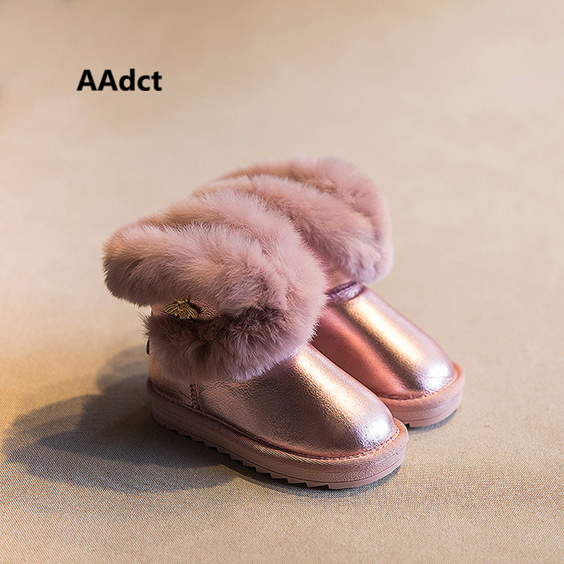 Anti-slippery waterproof girls snow boots kids warm ankle boots Winter children new shoes high quality rabbit hair flat rubber