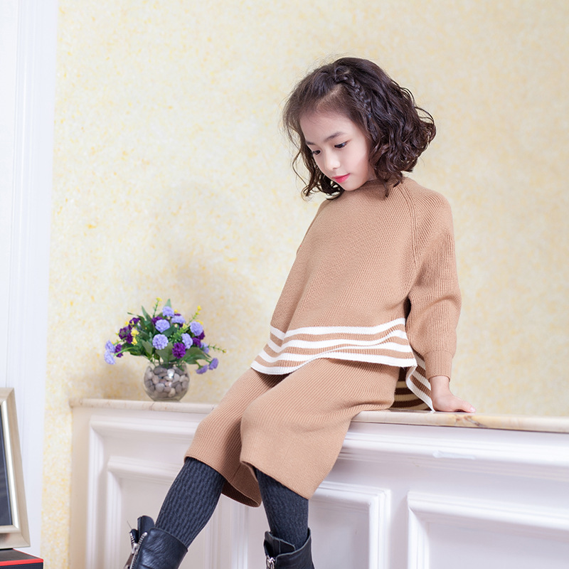 Little Girls Clothing Set Sweater Clothes For Girls Toddler Knitting Outfits Suit 2018 Fashion Soft Cute Product High Quality 5T