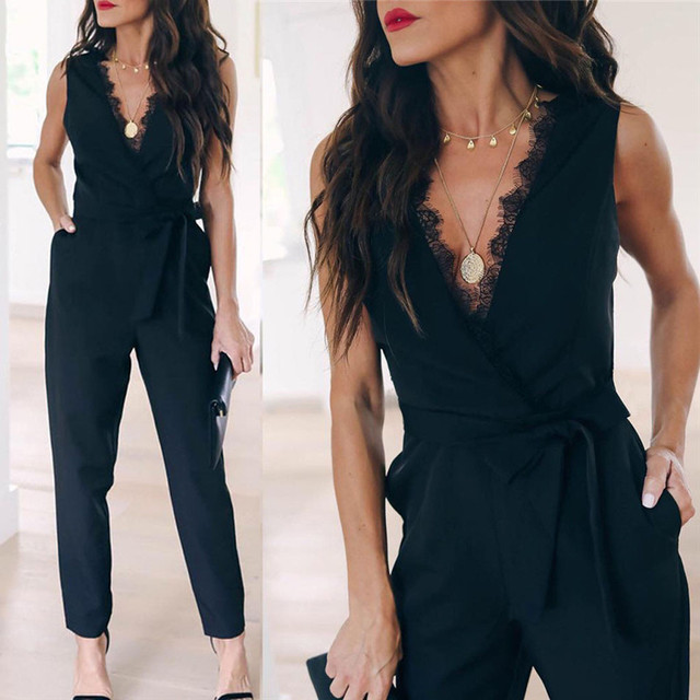 Womail 2019 Women Sexy Sleeveless V Neck Pocket Lace Up Long Jumpsuit Overalls Body suit White Causal Rompers summer 2019 Black