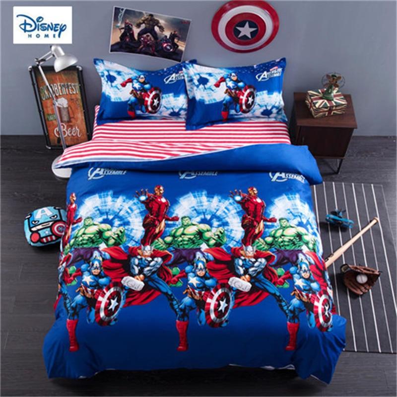disney marvel comforter bedding set queen size 3d bed linens 100% cotton kids bedroom decor twin full single size bed set 3/4pcs