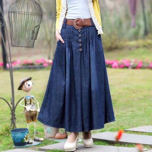 S XL Long Jean Skirts 2016 Womens Denim Girls Bohemia Pleated Jupe Blue Saia