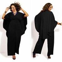 2015 Chiffon Elegant Jumpsuit Rompers Women Sexy V Neck White Black Cape Poncho Jumpsuit Plus Size