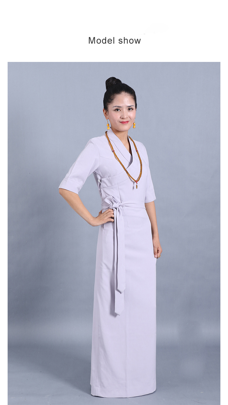 4a5e6bee5b0bc Tibet Style Women's Clothing Pure Color Half Sleeve comfortable Tibetan  Gown Robe Pink Gray Linen Chiffon Traditional Costume