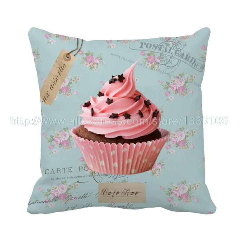 Hot style delicious cream cake printed custom girl pillow case almofadas cushion cover pillow cover sofa decor couch home decor