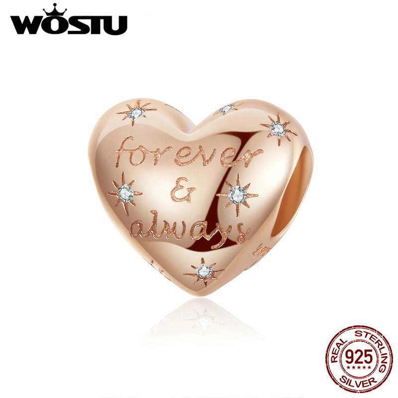 WOSTU Always-Beads Charm Jewelry-Making Rose-Gold Forever Original Bracelet Pendant 100%925-Sterling-Silver