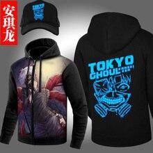 Japanese Anime Tokyo Ghoul Hoodie Ken Kaneki Cosplay Zip Fleece Cardigan Men Casual Fur Collar Jacket Autumn Winter Sweatshirt
