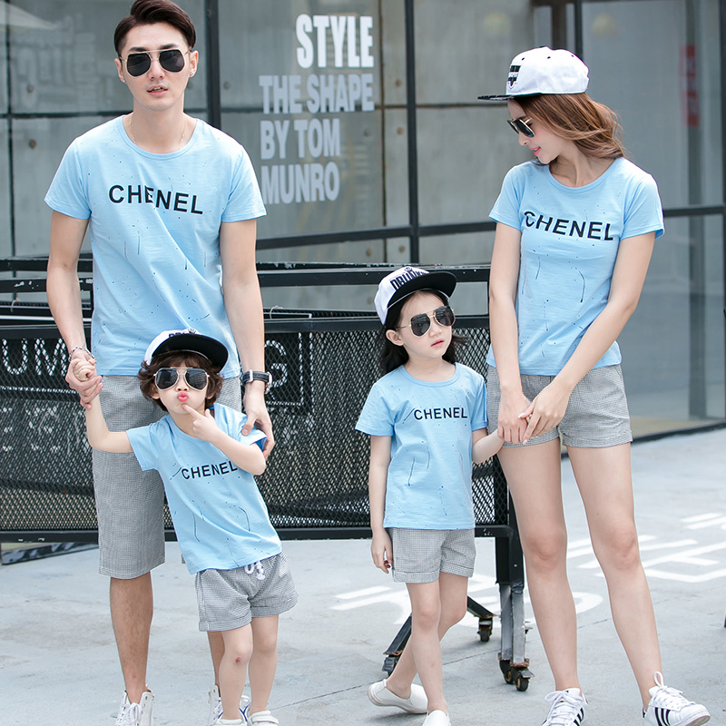 Free Shipping summer family look clothing sets sports children boys girls cartoon modal Slub cotton T shirts + Pants Outfits