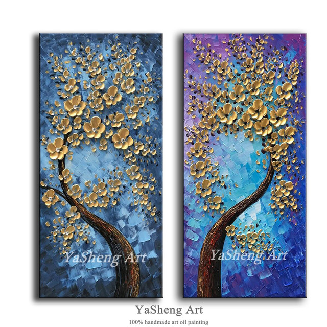 Handgemachte Moderne ölgemälde Spachtel Farbe Dick Metall Blumen