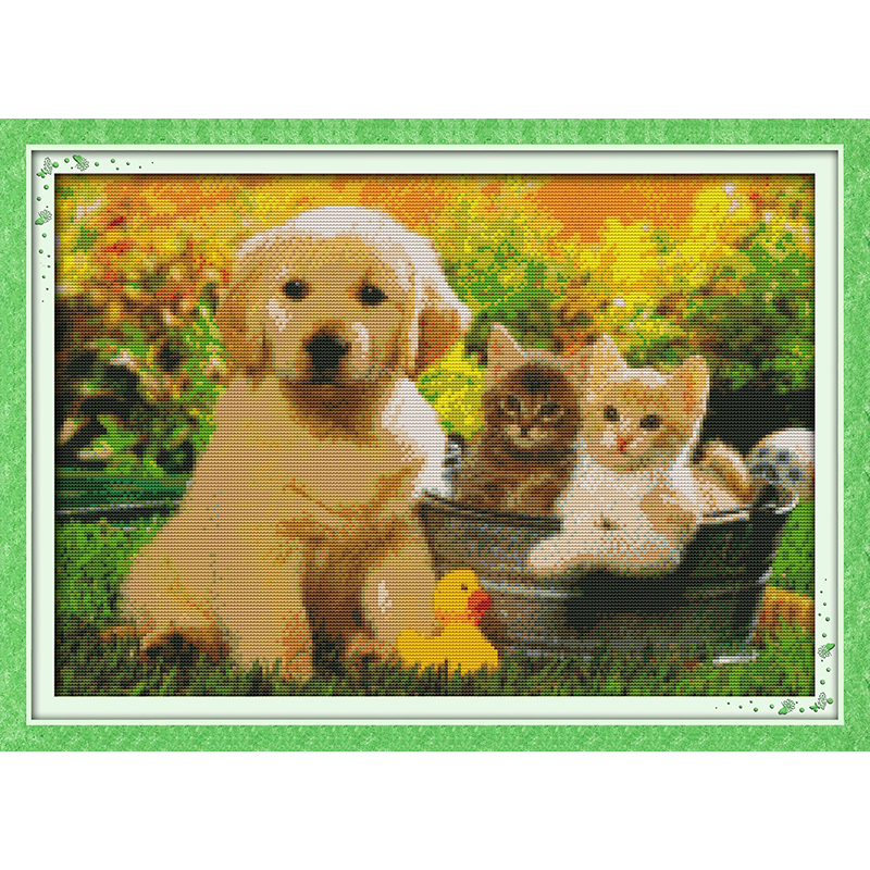 Everlasting love Sweet friend Chinese cross stitch kits Ecological cotton stamped printed 11CT DIY new year decorations for home image