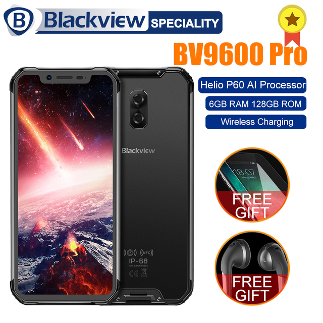 "Blackview BV9600 Pro Helio P60 6GB+128GB IP68 Waterproof Mobile Phone 6.21"" 19:9 FHD AMOLED 5580mAh Android 8.1 Smartphone NFC"
