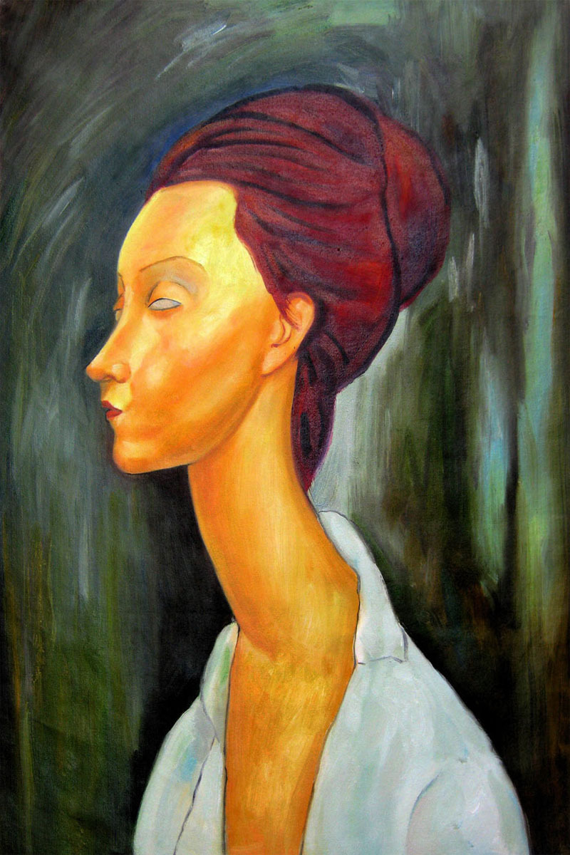 Handpainted Abstract Oil Painting Portrait Lunia Czechovska by Amedeo Modigliani Painting Vertical