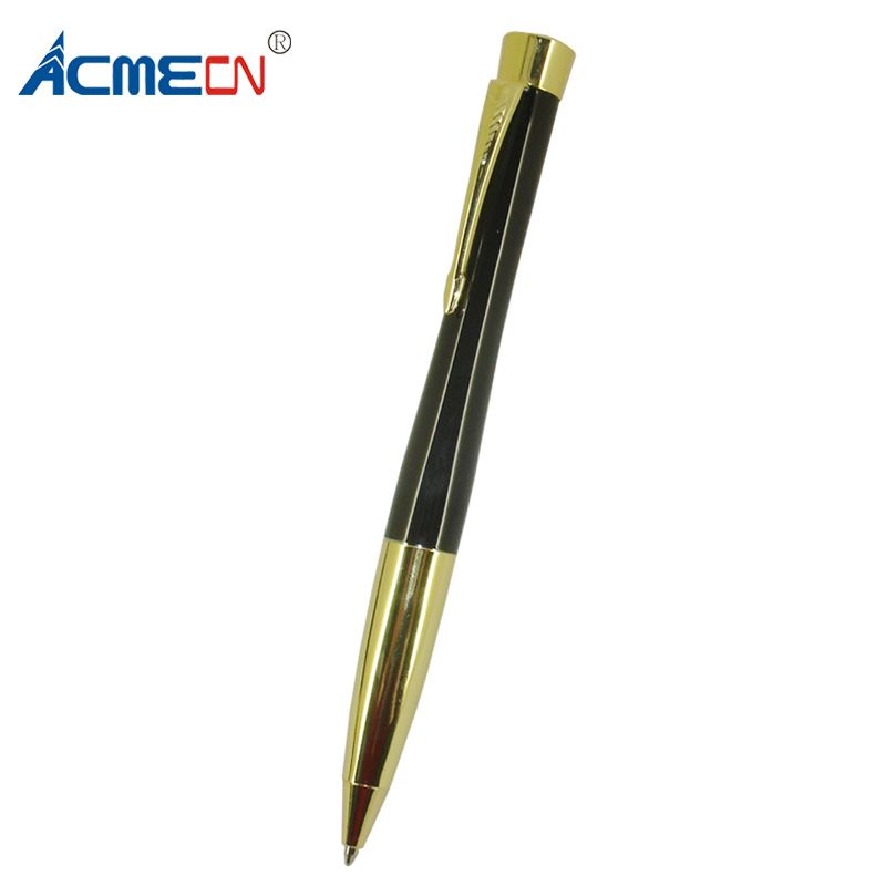 ACMECN Classic Luxury Black Ball Pen with Gold Trim Twist action Unisex Design Metal Brass BallPoint Pen for Christmas GiftsACMECN Classic Luxury Black Ball Pen with Gold Trim Twist action Unisex Design Metal Brass BallPoint Pen for Christmas Gifts