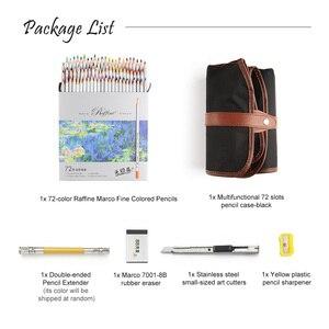 Image 2 - Marco Raffine Fine Art Colored Pencils 48/72 Color+Rubber Eraser Set+Roll UP Washable Canvas Pencil Bag Easy Carrying