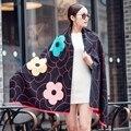 2016 мода цветок кашемировый шарф люксовый бренд женщины теплая шерсть зимний шарф длинные шали и шарфы Большой Пашмины пончо мыс