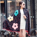 2016 fashion flower cashmere scarf luxury brand women warm wool winter scarf long shawl and scarves Large Pashmina poncho cape