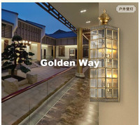 Nordic Style Copper L12cm H54cm Wall Lamp Indoor/Outdoor Hallway Light Bedroom Brass Glass Wall Sconce E14 AC 100% Guaranteed