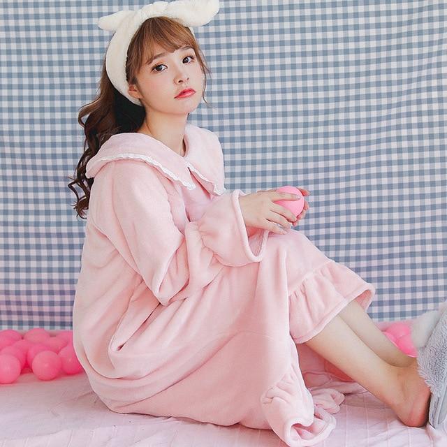 582802e6b Female Flannel Long Nightdress Autumn Winter Warm Sleepwear Sleep Dress  Lovely Nightgown Turn Down Collar Home
