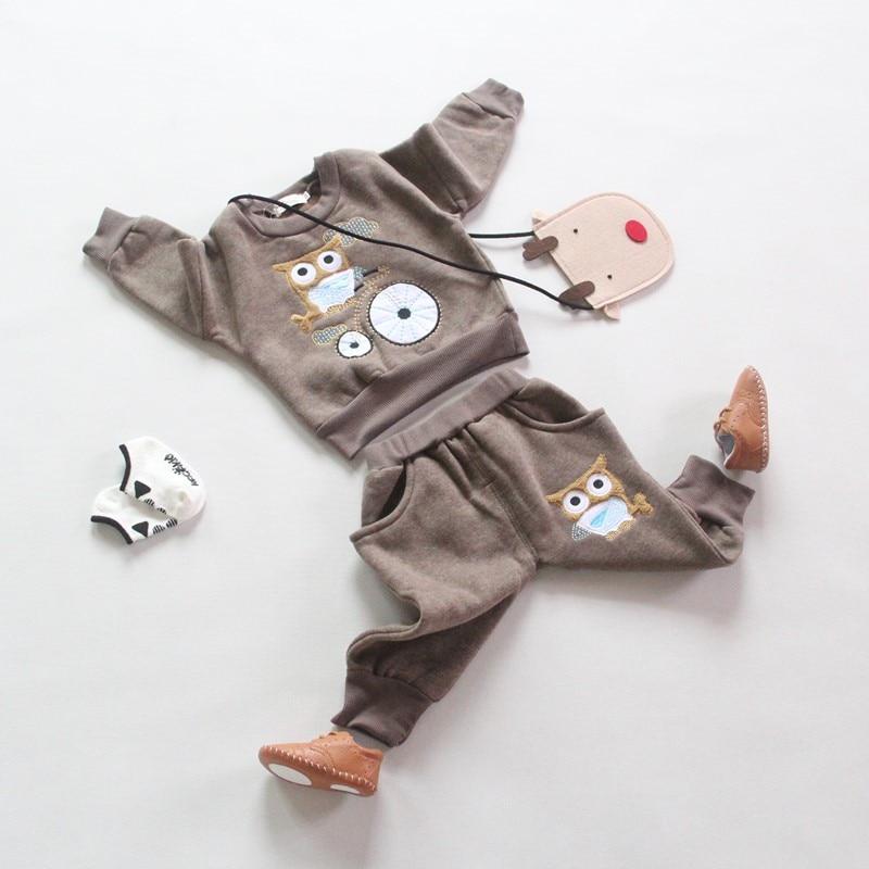 2016 New baby boys set bebe spring autumn 2pcs cartoon set full sleeve fleeceing t-shirt + pants suit chidren clothing set