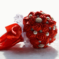 2017 Bridal Bridesmaid Wedding Bouquet Cheap New Luxury Crystal Dark Red Handmade Artificial Rose Flower Bridal Bouquets