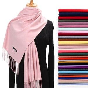 Women Winter Scarf 2020 Pure Cashmere Scarves Thick Neck Warm Headband Hijab Lady shawls Wraps Blanket Pashmina Female Echarpe(China)