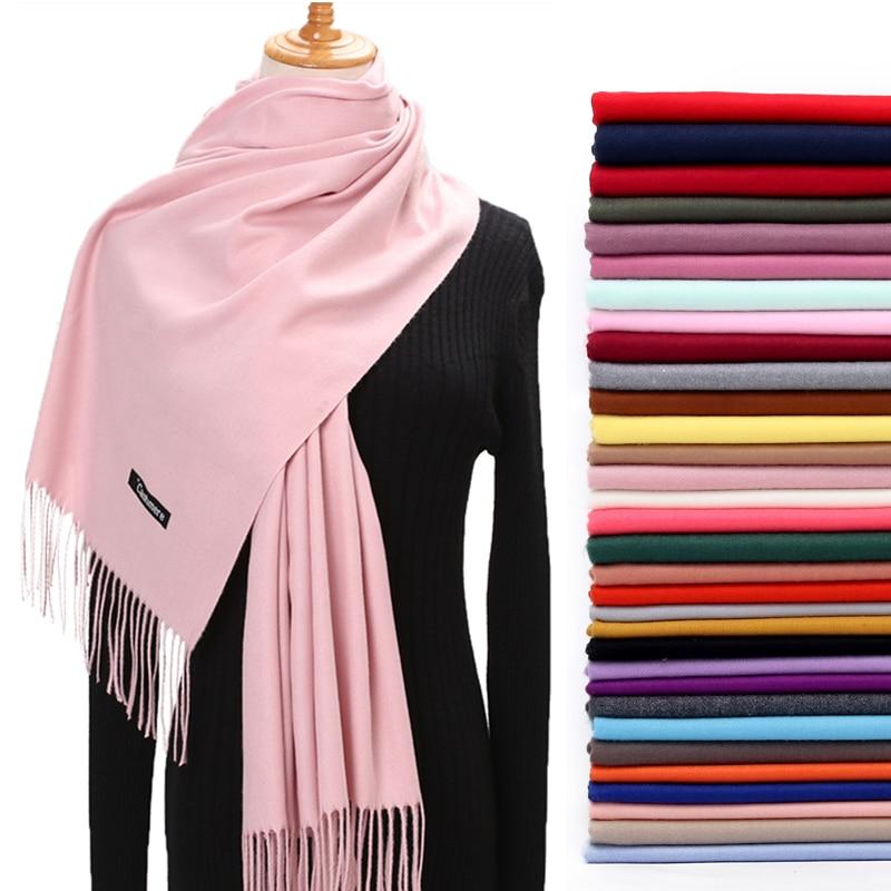 Women Winter   Scarf   2019 Pure Cashmere   Scarves   Thick Neck Warm Headband Hijab Lady shawls   Wraps   Blanket Pashmina Female Echarpe