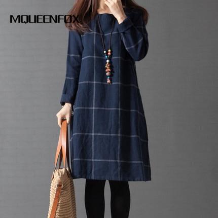 2018 New Women Dress Long Sleeve Dresses Fashion Spring Autumn plaid Loose Cotton Linen  ...