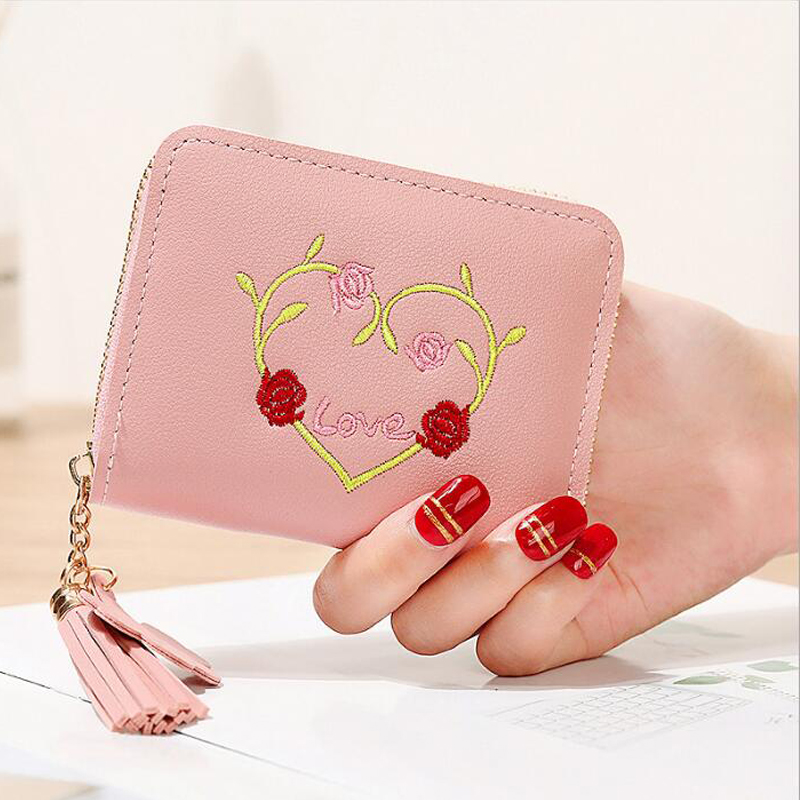Embroidery love students cute small purse mini card bag womens candy color new wallet solid quality assurance