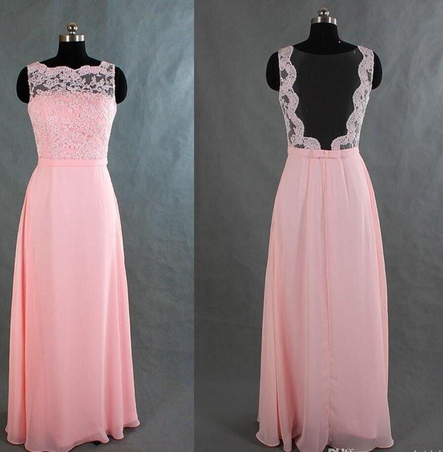 Sexy Backless Largo de Encaje de Color Rosa Vestidos de dama de ...