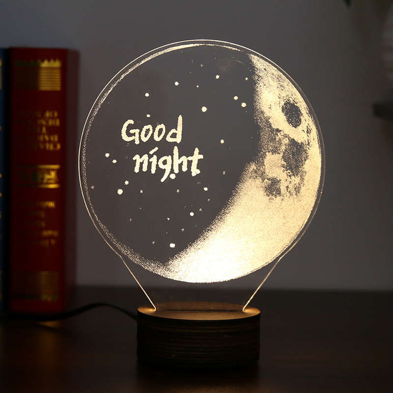 Carving 3D LED Moon Lamp Night Lights USB Christmas Lights Atmosphere Desk Lamps Earth Astronaut Moonlight Home Decor