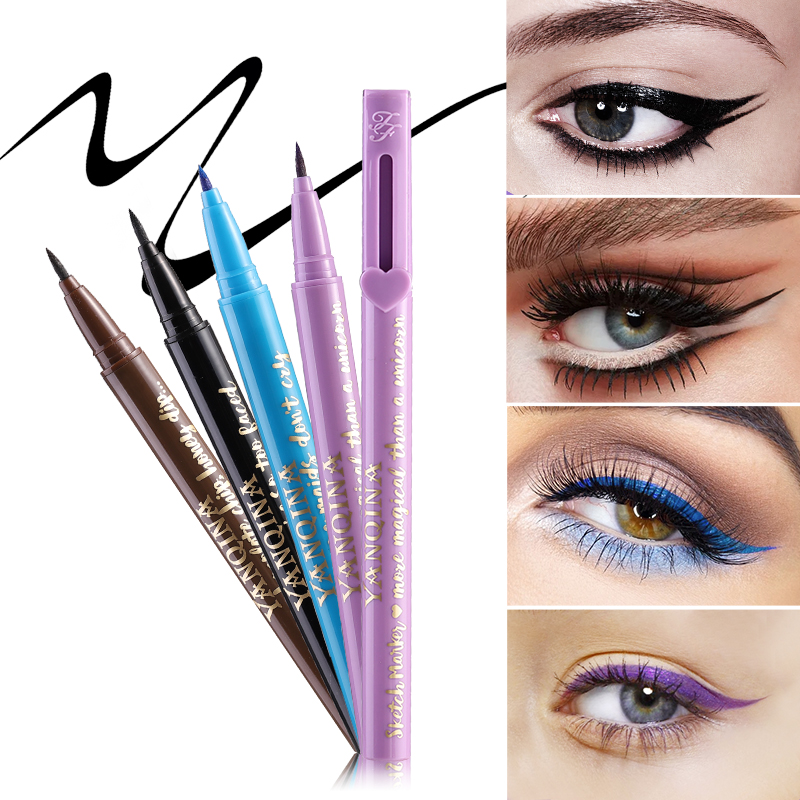 Waterproof <font><b>Eyeliner</b></font> 4 Colors Black Blue Brown Purple Colored Liquid <font><b>Eyeliner</b></font> <font><b>Pen</b></font> Smudge Proof Long Lasting Quick Dry Eye Makeup image