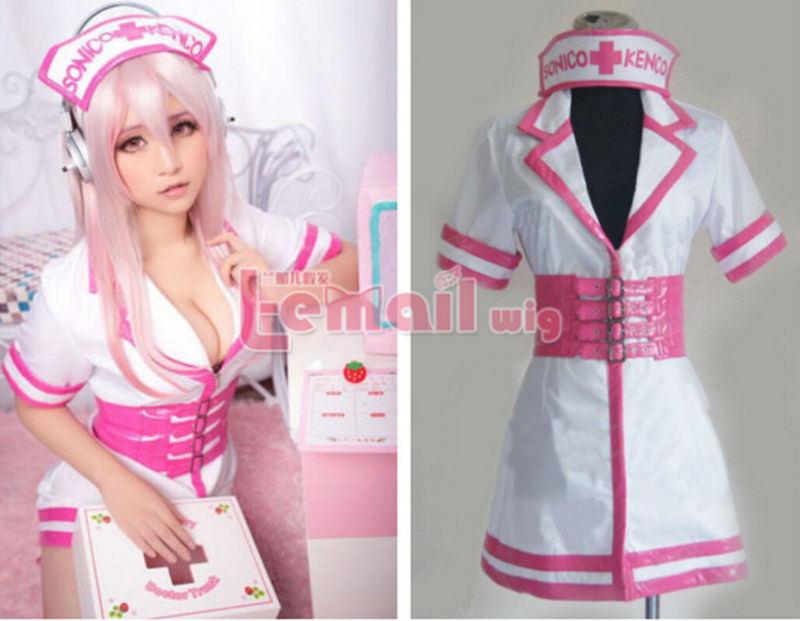 Super Sonico SONICOMI Nurse Uniform cosplay costume Custom made dress outfit - ACGMN Store store