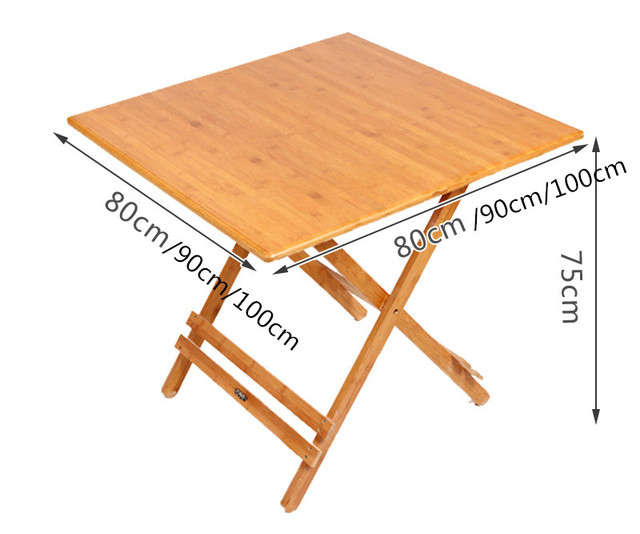 Bamboo Furniture Folding Table Square 80 100cm Outdoor Indoor Dining Legs Foldable Portable