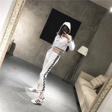 2017 Rushed Sale Cotton Full Criss-cross Tracksuits 2017 Spring Ladies Fashion Suit Casual Cross Strap Sweater + Pants 2 Sets