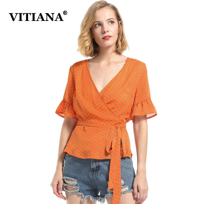 VITIANA Women Casual Chiffon Blouse Female 2018 Summer Short Sleeve V Neck Orange Polka Dot With Belt Beach Tops Shirt