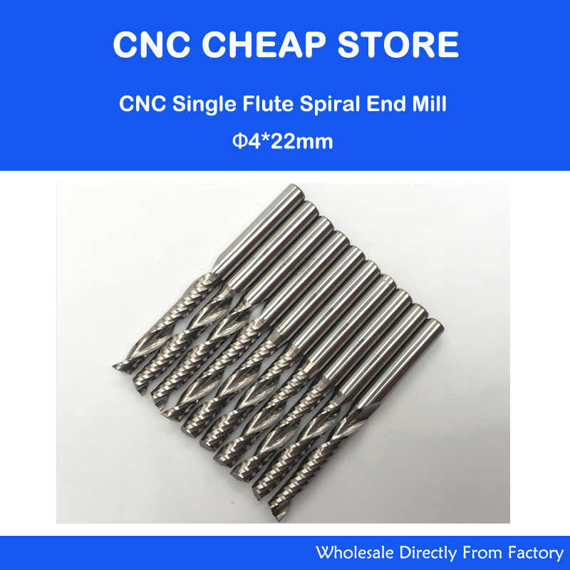 Free Shipping 4mm Carbide CNC Router Bits one Flutes Spiral End Mills Single Flutes Milling Cutter PVC Cutter CEL 22mm