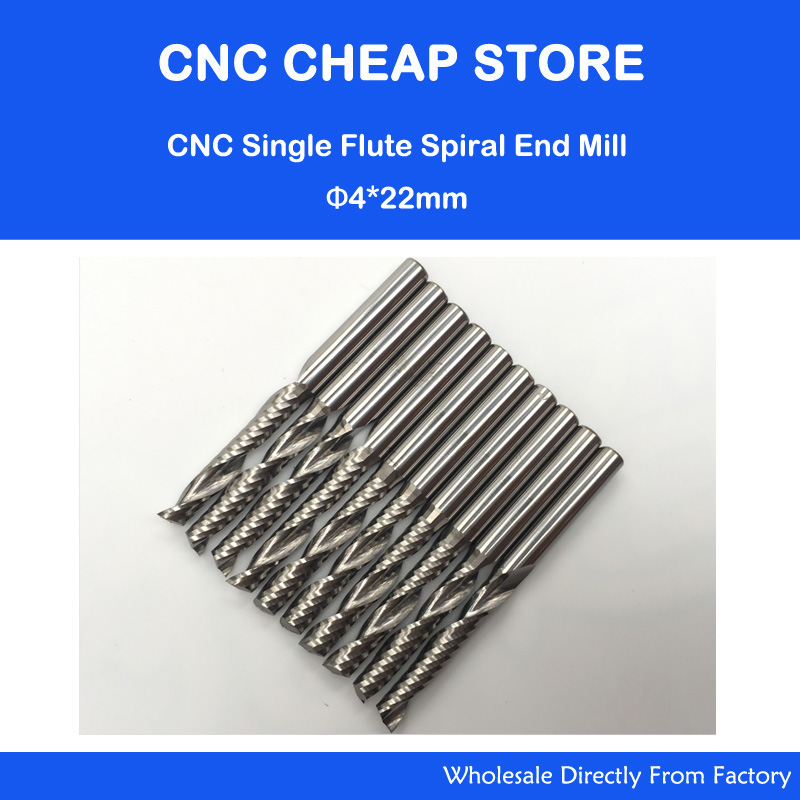 Free Shipping 4mm Carbide CNC Router Bits one Flutes Spiral End Mills Single Flutes Milling Cutter PVC Cutter CEL 22mm 10pcs 3 175mm cel 12mm carbide end mill cnc engraving tools one single flute spiral bit milling cutter free shipping