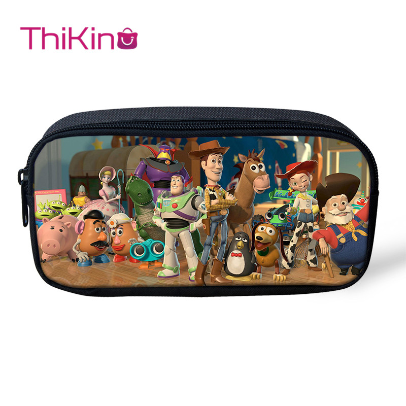 Thikin Toy Story Pen Bag For Boys Pencil Bags For Student Pencil Case Girls Makeup Storage HandBags Pen Purses For Kids