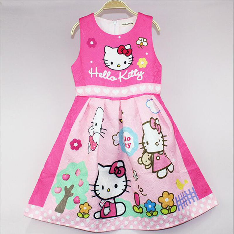 Dress For Girls Cute Sundress Hello Kitty Princess Dresses for Wedding Party Dress Costume For Kids Girl New Year Cartoon Dress summer 2017 new girl dress baby princess dresses flower girls dresses for party and wedding kids children clothing 4 6 8 10 year