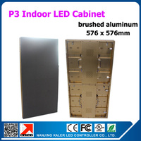TEEH0 4pcs/ lot 576*576mm rental led cabinet 3mm indoor golden brushed aluminum rental led display board for business activities