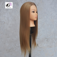 Big Sale Professional Styling Head With Golden Hair 60cm Thick Hair Wig Heads For Hairdressers Training