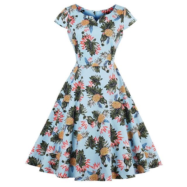 26d037edafd62 Sisjuly Vintage V Neck Dress 2017 Summer Female Mid Calf Floral Print Light  Blue Short Sleeve Zipper Party Dress Retro Dresses -in Dresses from ...